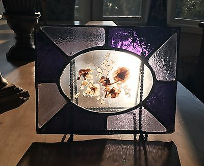 Antique Stained Glass Window Panel Pressed Flowers, Vintage Purple THICK Glass