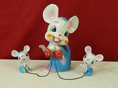 Arnart Mouse With Red Polka Dot Bow Tie and Pair Baby Mice