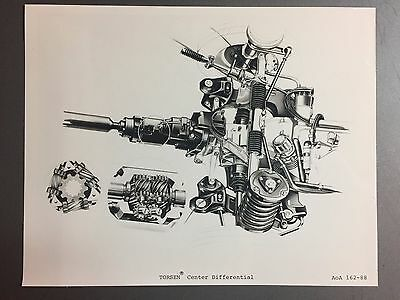 1989 Audi Torsen Center Differential B&W Press Photo, Foto RARE!! Awesome L@@K