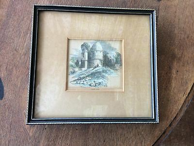 Antique coloured engraving print of Winton Castle Ross on Wye