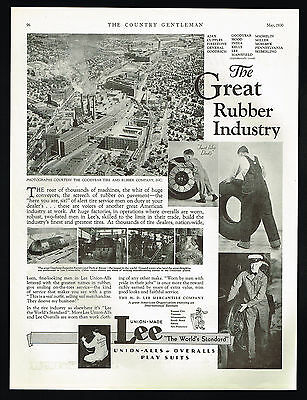 1930 Lee Overalls Union Made Goodyear Zeppelin Factory Dirigible Photo Print Ad