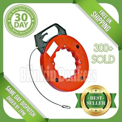 Fish Tape Electrician Push Pull Through Wire Cable Puller Access Long 50Ft 20C