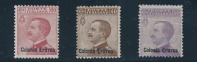 Eritrea  #42-44 (1916-1918) MH; OVERPRINT ON STAMPS OF ITALY; CV $99