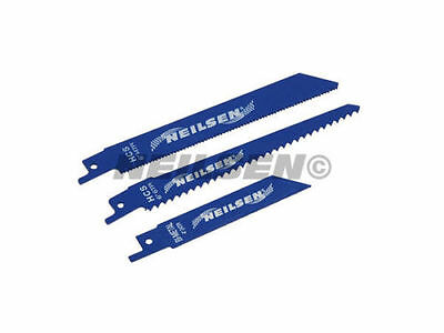 RSA RECIPROCATING SAW BLADES 3pc WOOD, STEEL and PLASTIC CUTTING BLADES CT3500.
