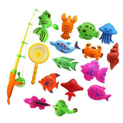 15Pcs Fish Model Kids Toy Magnetic Fishing Pretend Game Kids Children Toy