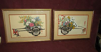 Old or Antique Japanese Woodblock Print Pair Flower Cart