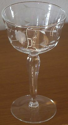 (7) Vintage Austrian Etched Fine Crystal Champagne Coupe Glasses 1940's Stemware