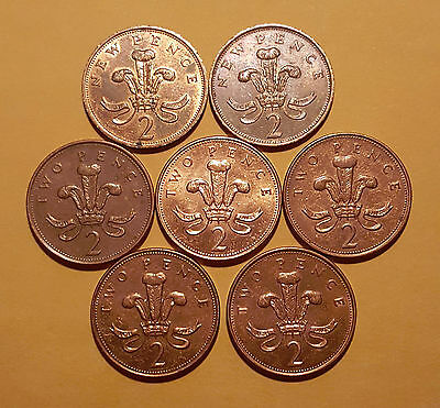 Lot Of (7) Great Britain - Uk - 2 Pence Coins - High Grade - F58