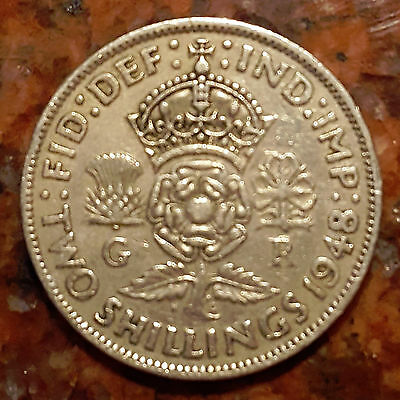 1948 UK Great Britain - Two (2) Shillings Crowned Rose Coin  - HIGH GRADE - F156