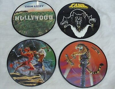 """4 UK ROCK NWOBHM 7"""" PICTURE DISCs IRON MAIDEN THIN LIZZY TANK TYGERS OF PAN TANG"""