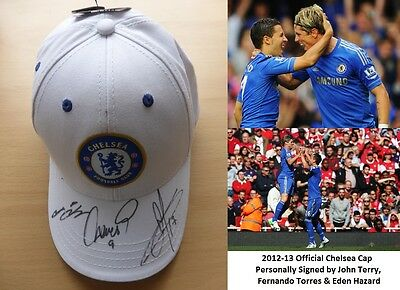 2012-13 Official Chelsea Cap Signed by Terry, Torres and Hazard (10544)