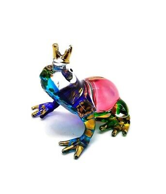 Prince Frog Blown Glass Miniature Blowing Art Animal Cute Decor Collectible gift