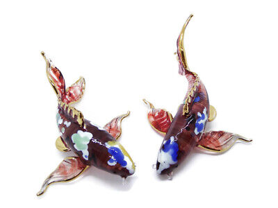 Fancy Carp Miniature Fish Figurine Blown Glass Animal Hand Craft Collectible V.1