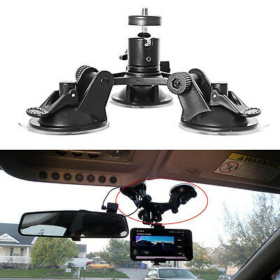 Car Windshield Dash Triple Low Angle Suction Cup Mount Holder For Camera Gopro