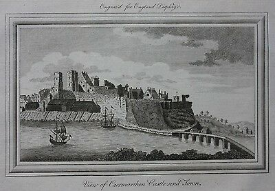 Original antique print CARMARTHEN CASTLE, WALES, from 'England Displayed' 1769