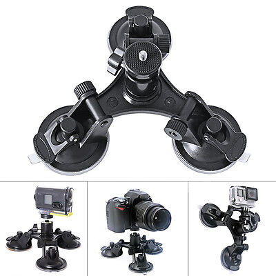 Triple Low Angle Suction Cup Mount Holder & Ball Head For Car Camera Camcorder