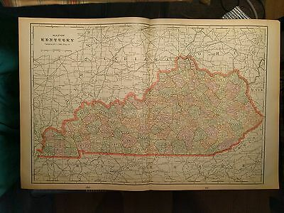 "KENTUCKY Map 1901 Antique Original Frankfort Franklin Cty FINE 22""x14.5"" MAPZ17"