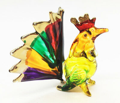 Hen Glass Chicken Figurine Hand Blown Crafted Art Animal Miniature Decor Gifts