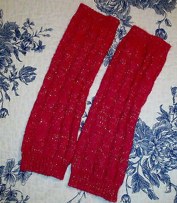 "Set Of Pink Leg Warmers. 12"" Long Knit Pattern."