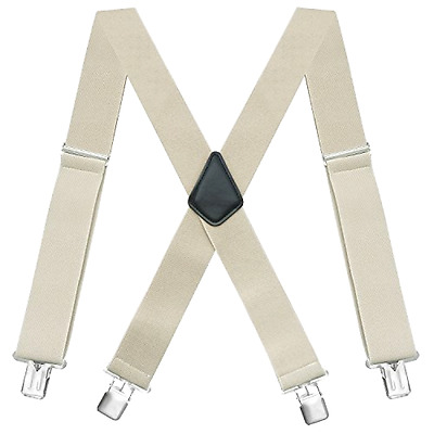 """Mens Solid Suspenders 2"""" Wide Adjustable Straight Clip X-Back One Size Beige"""