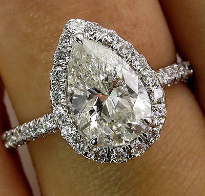 2.20Ct Pear-Cut Delicated Diamond Solitaire Halo Engagement Ring 14k White Gold