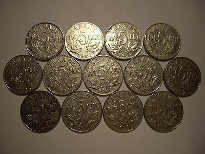 E Canada George V 1922 - 1936 Five Cents - Lot of 13 Coins