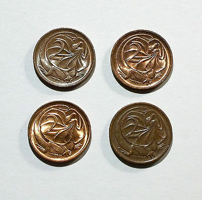 Australia 2 Cent Coins from 1980, 1981, 1983, 1985