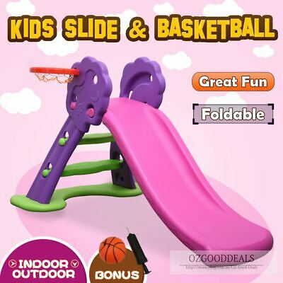 Toddler Kids Foldable Indoor Outdoor Play Activity Slide Basketball Purple Pink