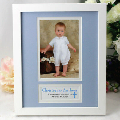 Personalised Christening  Photo Frame - Blue - Add a Name & Message