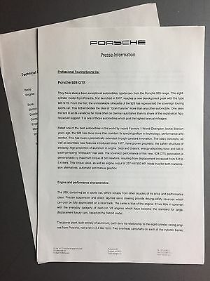 1993 Porsche 928 GTS Factory issued Press Release Press Kit RARE!! Awesome L@@K