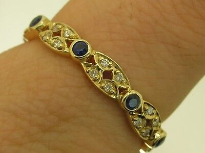 R133- Genuine 9ct SOLID GOLD Natural Sapphire & DIAMOND Eternity Ring size V