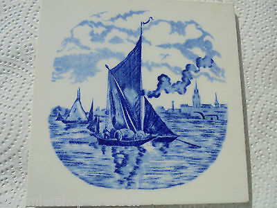 27343 Kachel Lastkahn Hamburg  Fliese tile very good Teichert