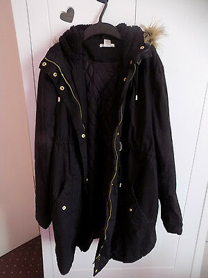 H&M MAMA Maternity Black Hooded Parka Large 14 16