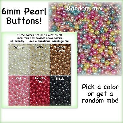 20 or 40 6mm Pearl Buttons Plastic Red White Black Pink Blue Ivory Doll Purple