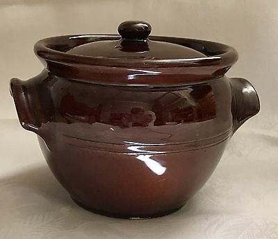 Antique Treacle Brown Glazed Stoneware Crock/Bean Pot