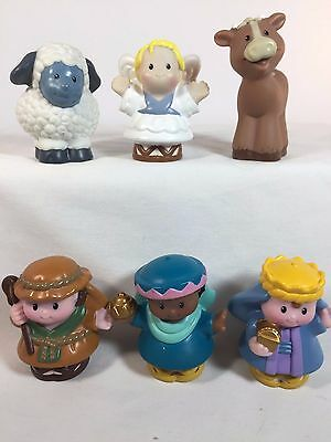 Fisher Price Little People Mixed Lot of 6 - Nativity Wiseman Joseph Cow Angel