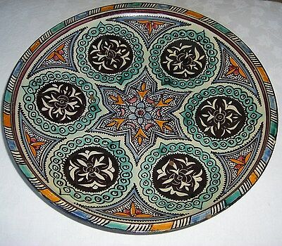 Large Antique Moroccan, Persian, Islamic, Middle Eastern, Pottery Charger Signed