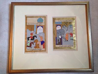 Vintage Persian Miniature Painting On Paper Inscribed