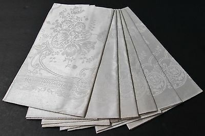 Antique Linen Damask 6 Napkins Peony & Tulip Florals Hand Hemmed Never Used