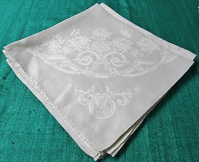 Antique 4 Formal Linen Damask Napkins Florals Scrolls & Garlands Hand Hemmed