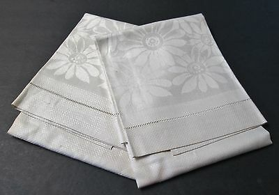 Antique Irish Linen Damask Towel Pair Daisy Florals Hemstitched Never Used