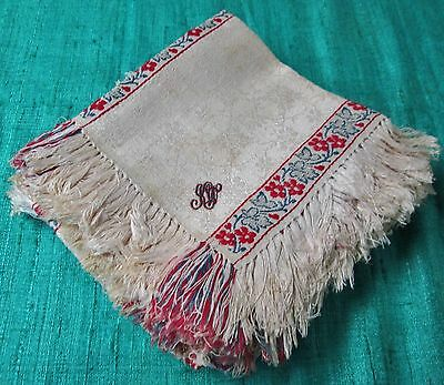 Antique 12 Turkey Red, Blue & Ecru Fringed Damask Napkins K W Monogram Florals