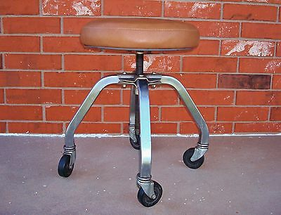Drafting Industrial Steampunk Adjustable Swivel Royal Metal Stool on Wheels