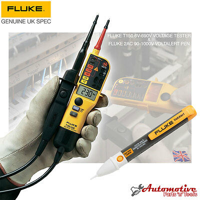 Fluke 2AC & T150 Voltage & Continuity Electrical Tester 6v-640v Genuine Fluke UK