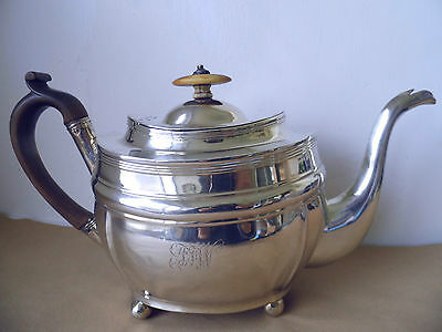 Large Georgian Solid Silver 925 Teapot London 1806