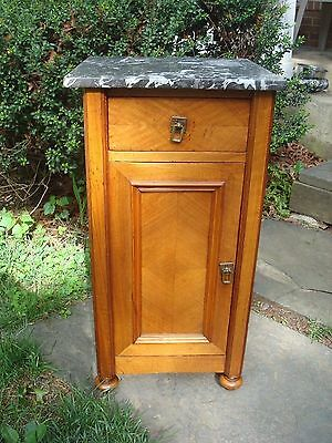 Antique Marble Top Architectural Bedside Cabinet