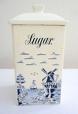 Vintage Blue and White SUGAR Canister with lid  Germany Windmill Delft pattern