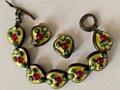 Taratata France Vintage 3color Enamels Earring Bracelet 2-Pc Set Vtg Mid-century