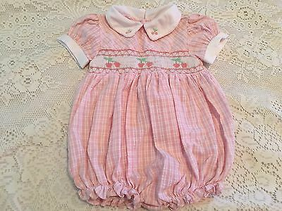 Vintage Carriage Boutiques Friedknit Girls Romper Bubble Pink Check Smocked