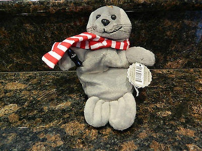 "NWT 8"" Coca-Cola Bean Bag Plush Stuffed Seal in scarf Plush bean Bag"